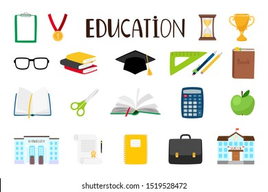 School cartoon items. Education supplies and schoolhouse illustration, pencil and pen stationery, winners cup and book icons