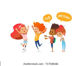 School children joyfully greet their friend with leg prosthesis. Amputee girl is glad to meet her classmates. Concept of happy meeting and true friendship. Illustration for poster, website.