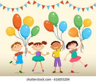 school children are jumping with balloons birtday party background bunner cartoon funny Ready for your message  character illustration