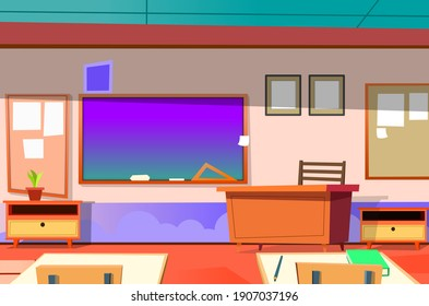 School classroom, first day of school, empty classroom. Elementary, middle school or high school desks and chalkboard.