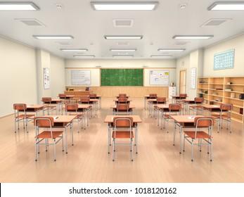 School classroom interior. 3d illustration