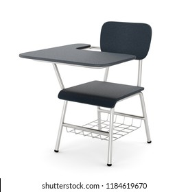School or college desk table with chair isolated on white background. Black plastic piece of furniture. 3D illustration
