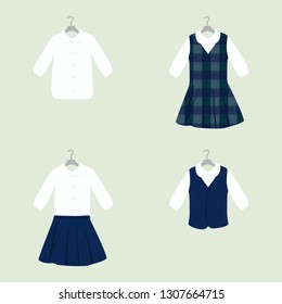 School or College Uniforms on Hangers. Kids Clothes Raster Set