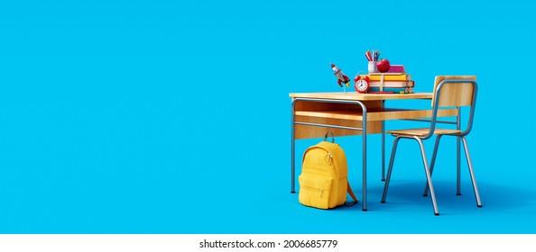 Escritorio escolar con accesorio escolar y mochila amarilla sobre fondo azul 3D Representación, Ilustración 3D