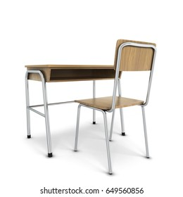 School desk with chair. 3d illustration isolated on white background
