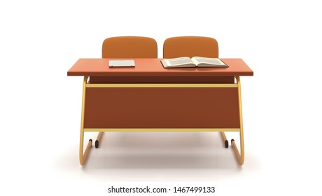 School desk and chairs front isolated on white background. 3D Rendering.