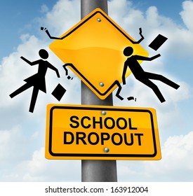 School dropout concept and dropping out of the education system as a road traffic sign with symbols of two students falling down with their books as a metaphor for quitting training and schooling.