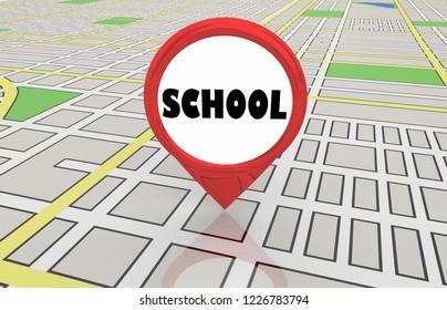 School Education Area Spot Location Map Pin 3d Illustration