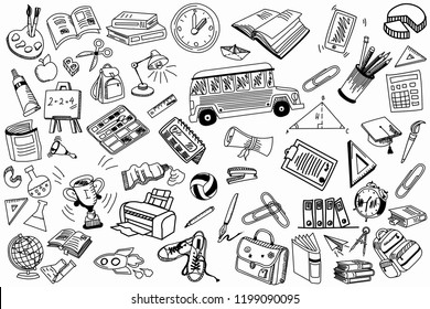 School and education doodles hand drawn sketch with symbols and objects