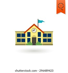 School and Education Icon - School Building.  Illustration. Flat design style