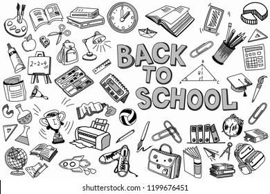 School and education illustration doodles hand drawn sketch with symbols and objects