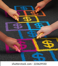 School financing and education business concept as a group of children drawing a hopscotch game on a floor with dollar signs as a symbol of student loans and paying for schooling fees.