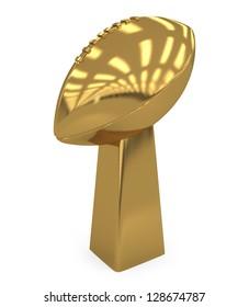 School Footballl Golden Trophy isolated on white - 3d illustration