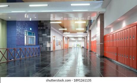 School hall interior. 3d illustration