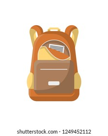 School haversack icon. Camping and travel backpack illustration isolated on white background in flat design.