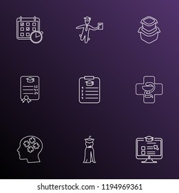 School icons line style set with food container, online course, medicine and other planner elements. Isolated  illustration school icons.