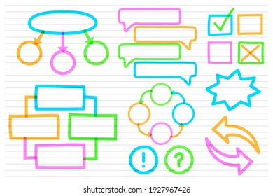 School info graphic elements with colourful markers collection template
