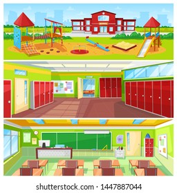 School interior and outdoor yard colorful banner, raster illustration of light classroom and huge hall with cupboards, spacious garden with swings