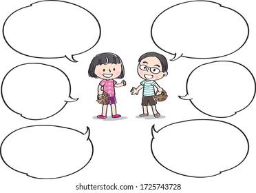 school kids with speech bubble set