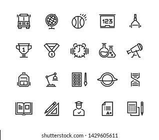 School line icons. Geometry geography physics chemistry school disciplines. School graduation and university education  symbols set