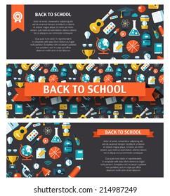 School modern flat design flyer templates