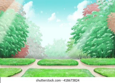 School Park Forest Sky, a Silent Place to Think. Video Game's Digital CG Artwork, Concept Illustration, Realistic Cartoon Style Background