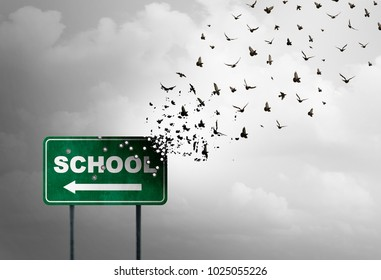 School shooting concept tragedy and horrific gunfire as a sign with bullet holes as a metaphor for a tragic violent event in the United States with 3D illustration elements.