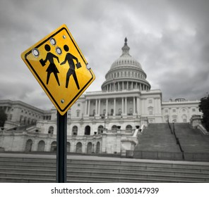 School shooting government issue symbol and tragic gunfire towards students as a sad sign with bullet holes with washington congress in the United States with 3D illustration elements.