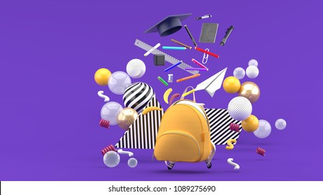 School Supplies Floating out of a school bag amidst colorful balls on a purple background.-3d render.