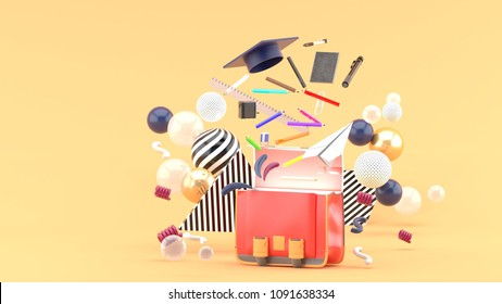 School Supplies Floating out of a school bag amidst colorful balls on an orange background.-3d render.