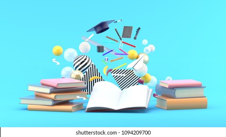 School Supplies Floating out of a book amidst colorful balls on a blue background.-3d render.