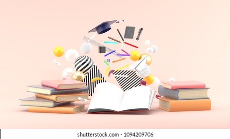 School Supplies Floating out of a book amidst colorful balls on a soft pink background.-3d render.