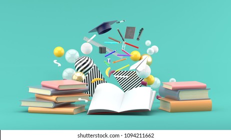 School Supplies Floating out of a book amidst colorful balls on a green background.-3d render.