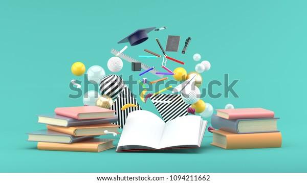 Школьные принадлежности Плавающие из книги среди красочных шаров на зеленом фоне. -3d рендер.