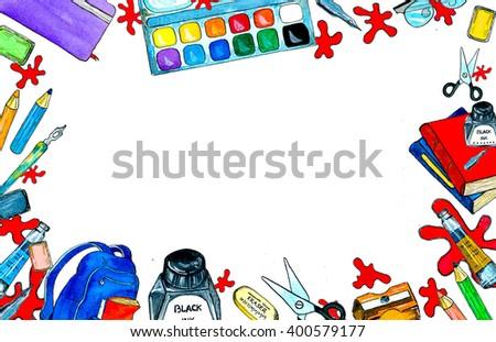 school supplies products artists art supplies stock illustration