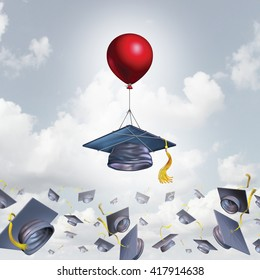 School support and college graduation concept and scholarship symbol as a mortarboard or graduate cap being lifted higher with the help of a balloon with 3D illustration elements.
