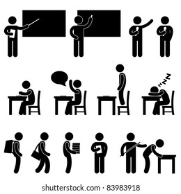 School Teacher Student class classroom Education Symbol Sign Icon Pictogram