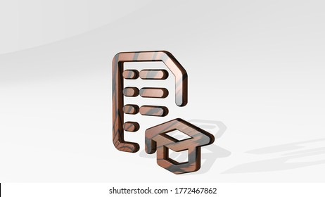 school test results made by 3D illustration of a shiny metallic sculpture casting shadow on light background. education and child
