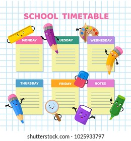 school timetable with funny cartoon stationery characters children weekly class schedule template school schedule
