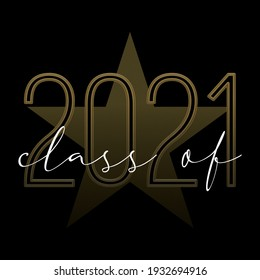 School, university, college graduation Class of 2021 illustration black and gold with star and handwritten text
