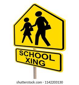 SCHOOL XING Street Sign