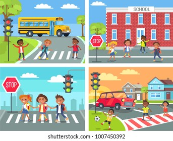Schoolchildren cross road on pedestrian crossing in downtown, near school building, at calm neighbourhood and at common city road  illustration.