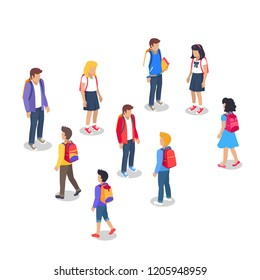 Schoolchildren from secondary school with backpacks, holding books in hands set of  illustrations isolated. Pupils cartoon characters with rucksack