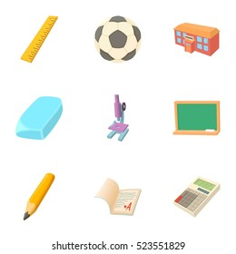 Schoolhouse icons set. Cartoon illustration of 9 schoolhouse  icons for web