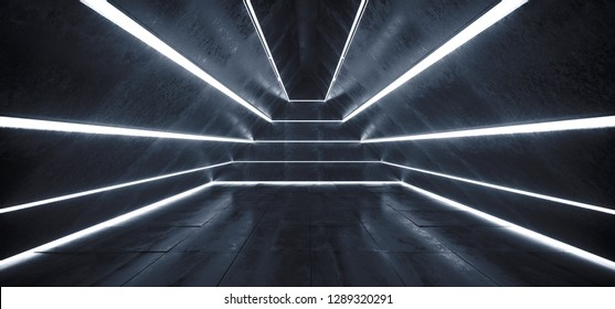 Sci FI Alien Ship Light Stripped Led Laser White Glowing Lights In Triangle Shaped Grunge Concrete Empty Dark Tunnel Corridor Spaceship Reflections 3D Rendering Illustration