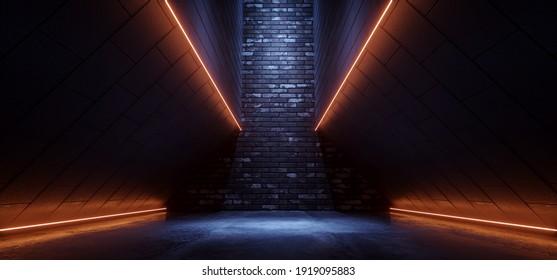 Sci Fi Alien Spaceship Neon Glowing Brick Line Orange Blue Cement Asphalt Glossy Hallway  Tunnel Corridor Cyber Modern Hangar Warehouse 3D Rendering Illustration