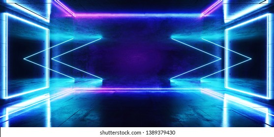 Sci Fi Arrows Neon Futuristic Purple Blue Cold Club Stage Room Hall Show Vibrant Virtual Reality Laser Beam Led Lights Glowing Reflection Dark Luminous Fluorescent Alien Spaceship 3D Rendering