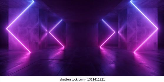 Sci Fi Arrows Shaped Neon Cyber Futuristic Modern Retro Alien Dance Club Glowing Purple Pink Blue Lights In Dark Empty Grunge Concrete Reflective Room Corridor Background 3D Rendering Illustration