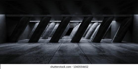 Sci Fi Concrete Grunge Alien Spaceship Tilted Shaped Huge Columns In Dark Tiled Hall Garage Underground Gallery Room Tunnel Corridor Realistic Background 3D Rendering Illustration