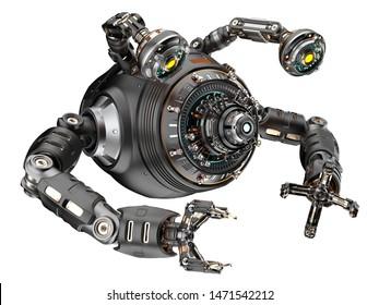 ロボットの部品や車を作るために設計されたSF工場ロボットや未来的な金属機械。白い背景に。3Dイラスト